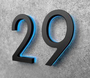 Modern 8″ Black / Blue LED Numbers
