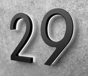 Modern Black Lighted House Numbers 8″