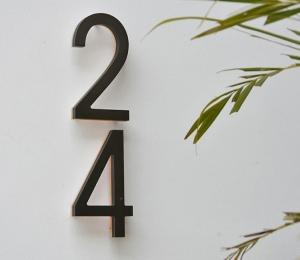Modern 8″ Bronze House Numbers Illuminated