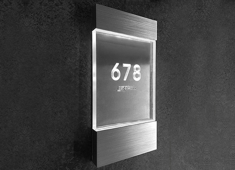 Lighted Clear Room Number Sign