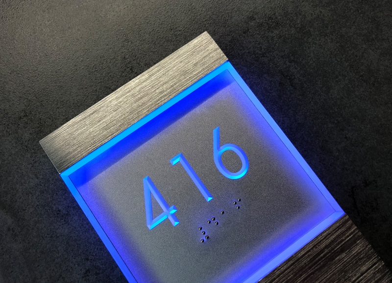 Lighted Clear LED Sign Blue Panel + Doorbell