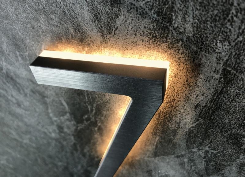 Modern 5″ Backlit Brushed House Numbers