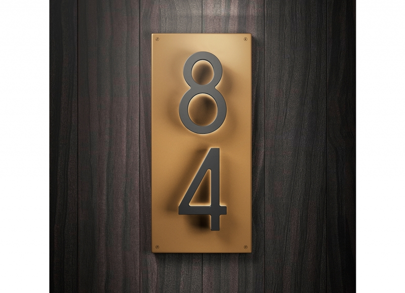 Illuminated House Number Backplate Vertical 5″
