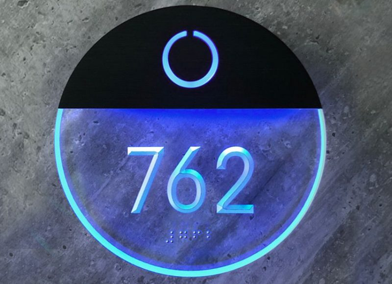 Round Clear Lighted Number Room Panel